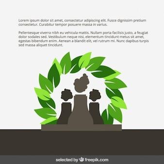 Plantilla Eco con fábrica y hojas
