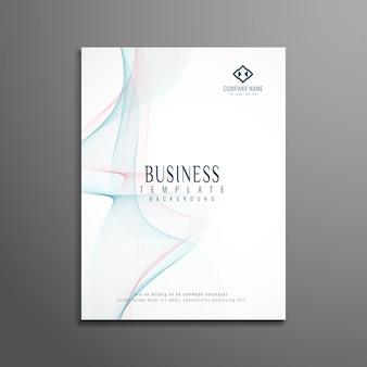 Plantilla elegante blanca de folleto de negocios ondulado