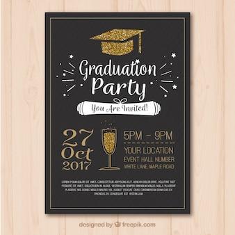 Plantilla elegante de cartel de fiesta de graduación con elementos dorados