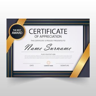 Plantilla elegante horizontal de diploma de lujo