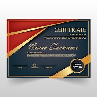 Plantilla elegante roja y oscura horizontal de diploma
