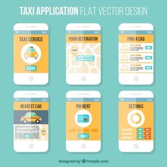 Plantilla estilo plano de una aplicación móvil para taxis