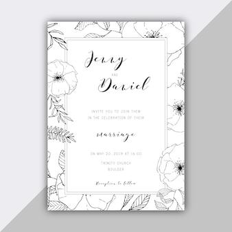 Plantilla floral de invitación de boda dibujada a mano