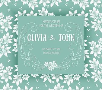 Plantilla floral de la fecha de la boda del ornamento