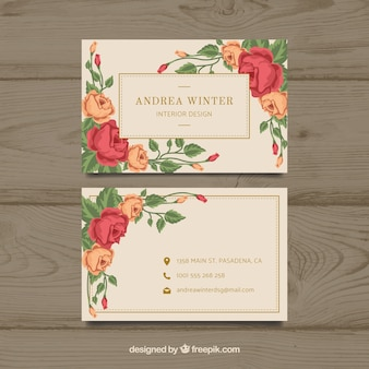 Plantilla floral de tarjeta de visita con diseño plano