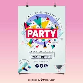 Plantilla geométrica de póster de fiesta