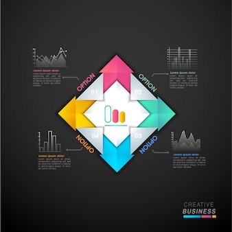 Plantilla geométrica infográfica con flechas en diferentes colores