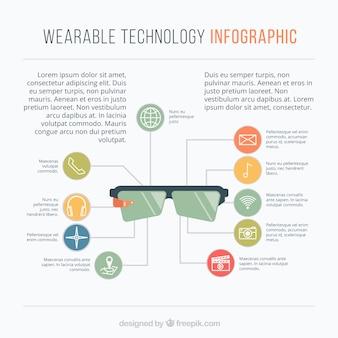 Plantilla infográfica con aparatos tecnológicos