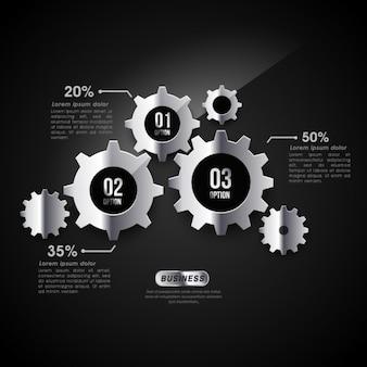 Plantilla infográfica con engranajes metálicos