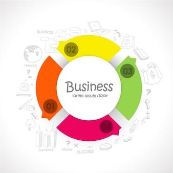 Plantilla infográfica de negocios con forma redonda colorida