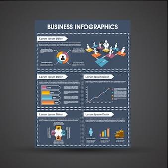 Plantilla infográfica empresarial azul oscuro con gráficos coloridos