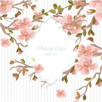 Plantilla invitación de boda con flores en acuarela