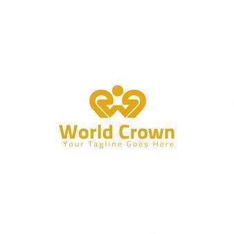 Plantilla logotipo de corona del mundo