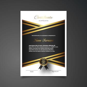 Plantilla lujosa de certificado de gratitud en negro y dorado