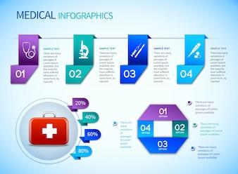 Plantilla médica de infografía de Origami