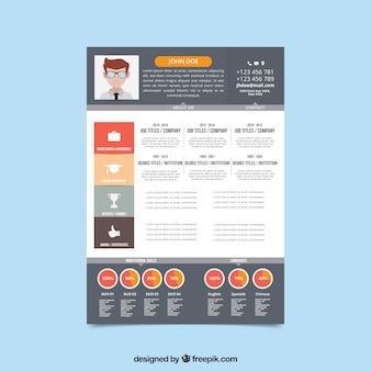 Plantilla moderna de currículum con elementos infográficos