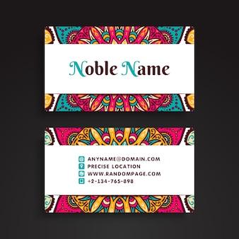Plantilla noble de tarjeta de visita de mandala