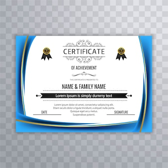 Plantilla ondulada azul de certificado