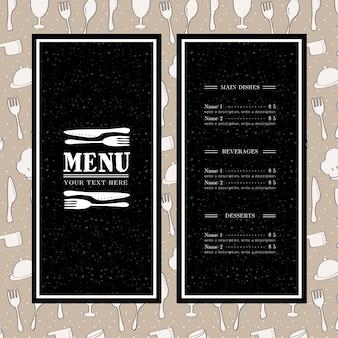 Plantilla oscura de menú de restaurante