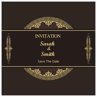 Plantilla oscura retro de invitación de boda