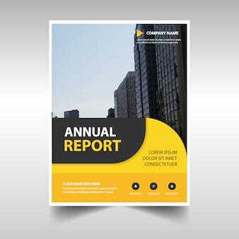 Plantilla redondeada amarilla abstracta de reporte anual corporativo