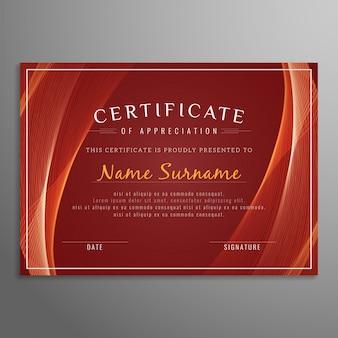 Plantilla roja de certificado ondulado