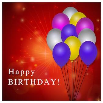 Plantilla roja de cumpleaños con globos
