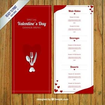 Plantilla roja de menú del día de valentín