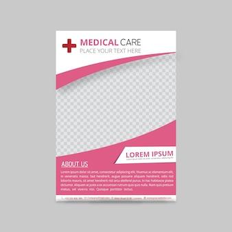 Plantilla rosa de folleto médico