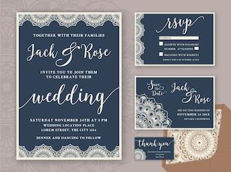 Plantilla rústica del diseño de la invitación de la boda. Incluya la tarjeta de RSVP, ahorre la tarjeta de fecha, gracias las etiquetas. Mandala redonda del vintage ornamental