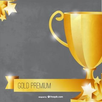Plantilla trofeo premium de oro