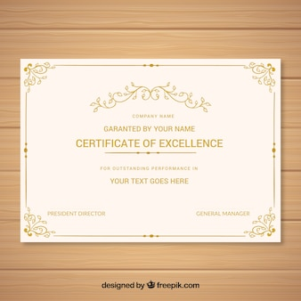 Plantilla vintage de diploma dorado