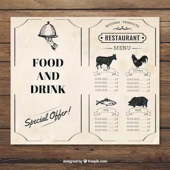 Plantilla vintage de menu de restaurante