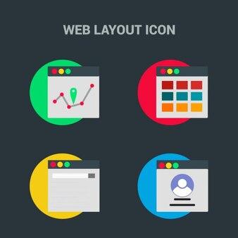 Plantilla web, cuatro iconos sobre fondo negro
