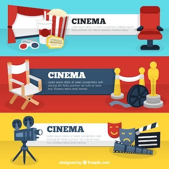 Plantillas de banners de cine con accesorios de película