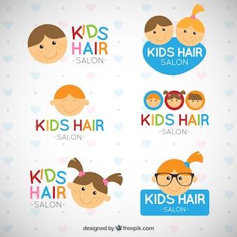 Plantillas de logo de peluquería de niños
