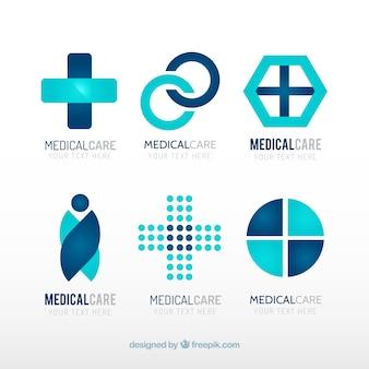 Plantillas de logos azules de centro médico