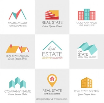 Plantillas de logos de inmobiliaria en diseño plano