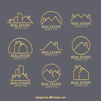 Plantillas de logos trazados de inmobiliaria