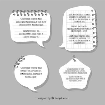 Plantillas de texto en forma de cuaderno