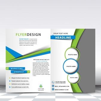 Platilla de folleto azul y verde