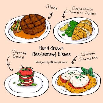 Platos de restaurante dibujados a mano