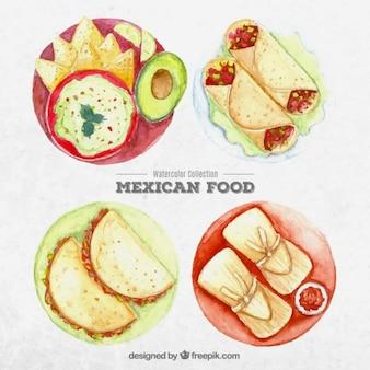 Platos mexicanos tradicionales de acuarela