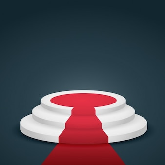 Podium con alfombra roja