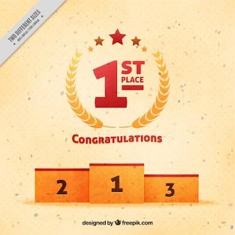 Podium de los ganadores con corona de laurel