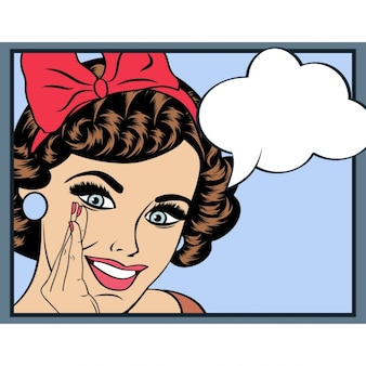 Pop ilustración del arte de la muchacha con el discurso invitación bubblepop muchacha de partido arte mujer cardvintage felicitación de cumpleaños de la moda cartel publicitario con bocadillo