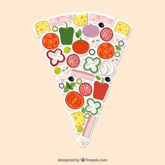 Porción de pizza hecha con ingredientes