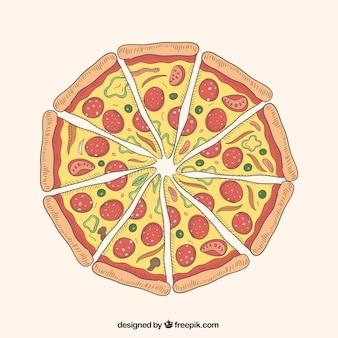 Porciones de pizza ilustración