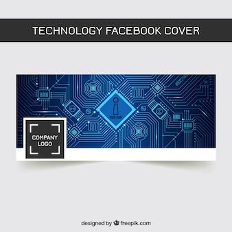 Portada de facebook abstracta de tecnología