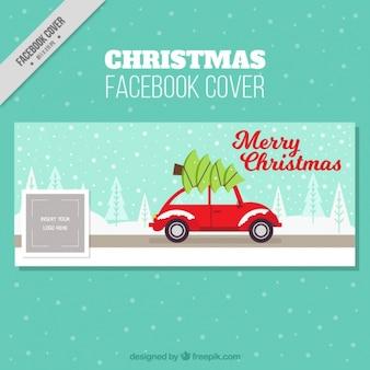 Portada de facebook con coche y árbol de navidad